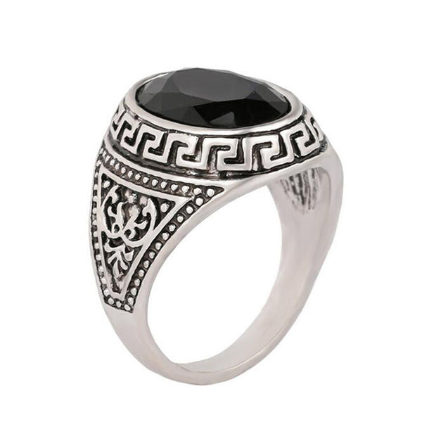 Vintage Black Stone Ring (Men) - Summer Fashionista