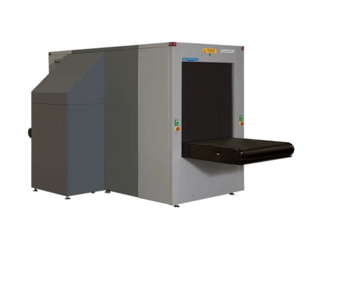 A mailroom X-ray machine available to buy with a conveyer belt to scan items