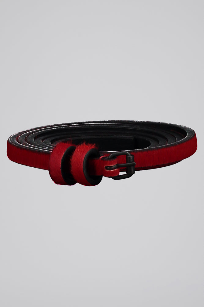 HAIDER ACKERMANN SMALL BUCKLE BELT TAIPAN RED