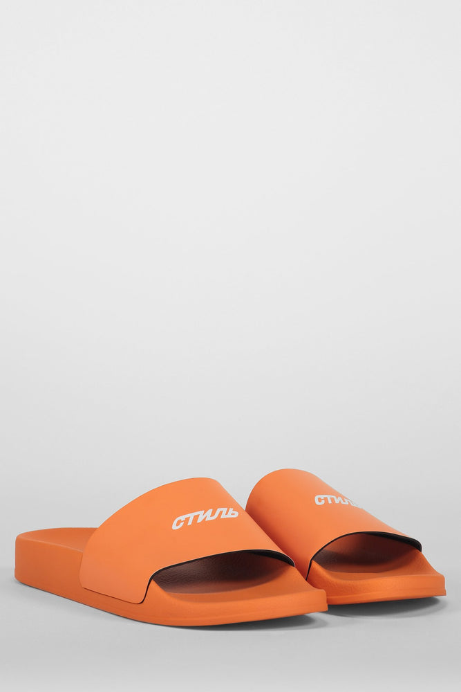 HERON PRESTON LOGO SLIDER ORANGE WHITE