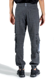 MCQ CASUAL CHECK TRACKPANTS CHARCOAL