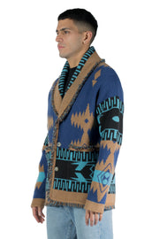 ALANUI REGENERATED ICON CARDIGAN ATLANTIS BLUE MULTICOLOR