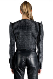 OFF WHITE CHEVRON SHOULDER CROP JKT BLACK