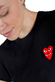 CDG PLAY W DOUBLE RED HEART LOGO TEE BLACK