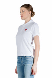 CDG PLAY W RED HEART POLO WHITE