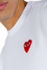 CDG PLAY RED HEART LOGO TEE WHITE