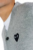CDG PLAY BLACK HEART CARDIGAN GREY