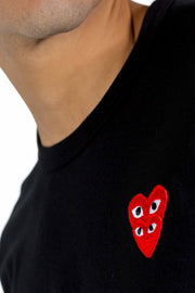 CDG PLAY DOUBLE RED HEART LOGO TEE BLACK