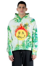 PALM ANGELS TIE DYE BURNING HEAD HOODY FOREST GREEN YELLOW