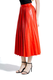 MSGM PLEATED SKIRT IN ECO LEATHER
