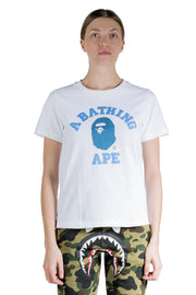 BAPE W DENIM COLLEGE TEE WHITE