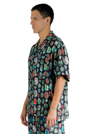 PALM ANGELS JEWELS BOWLING SHIRT BLACK MULTICOLOR