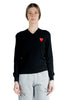 COMME DES GARCONS PLAY W DOUBLE RED HEART LOGO V-NECK SWEATER BLACK