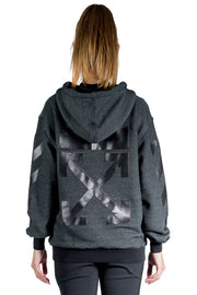 OFF WHITE ARROW ZIPPED HOODIE BLACK BLACK