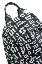 PALM ANGELS BROKEN MONOGRAM BACKPACK BLACK WHITE