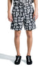 PALM ANGELS BROKEN MONOGRAM SWIM SHORT BLACK WHITE