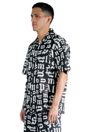 PALM ANGELS BROKEN MONOGRAM BOWLING SHIRT BLACK WHITE