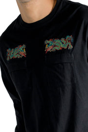 MAHARISHI LIBERTY DRAGON LS T-SHIRT BLACK