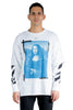 OFF WHITE BLUE MONAL DOUBLE SLEEVE TEE WHITE BLACK