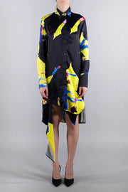OFF-WHITE BRUSHSTROKE SPIRAL DREES BLACK YELLOW