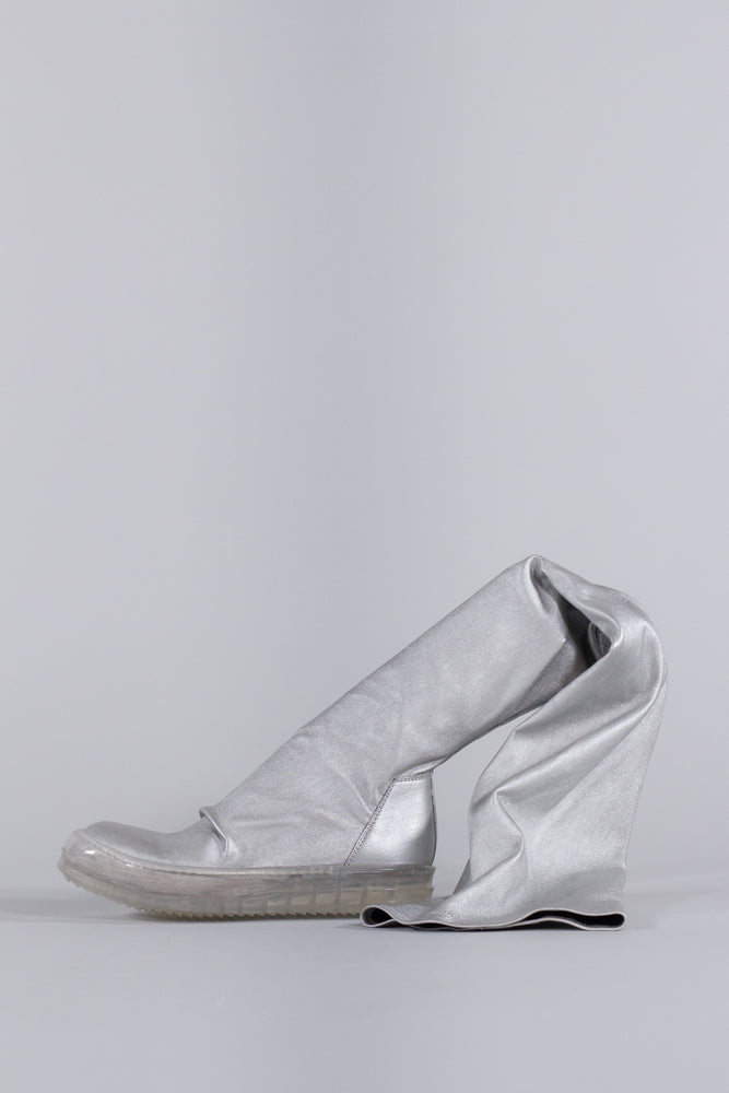 RICK OWENS SILVER STOCKING SNEAKERS BOOT WMN