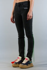 OFF WHITE EMBROIDERY SKINNY DENIM DARK GREY WASH GREEN