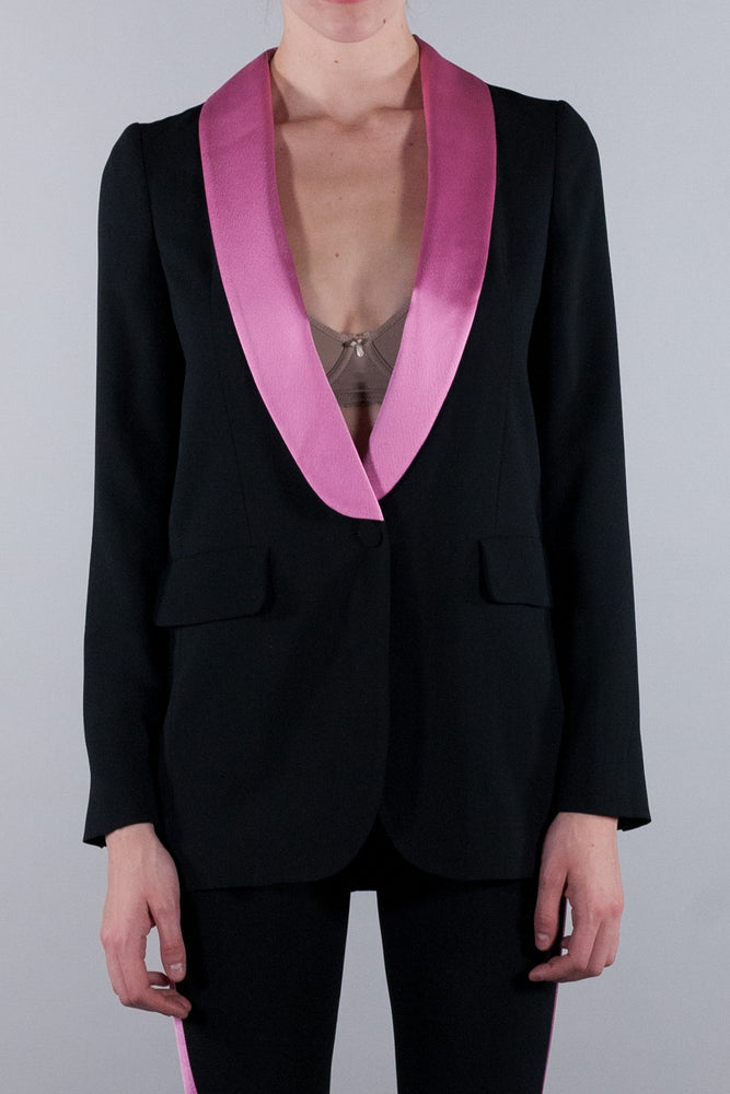 MSGM SINGLE BREASTED JACKET WITH CONTRAST REVERSE