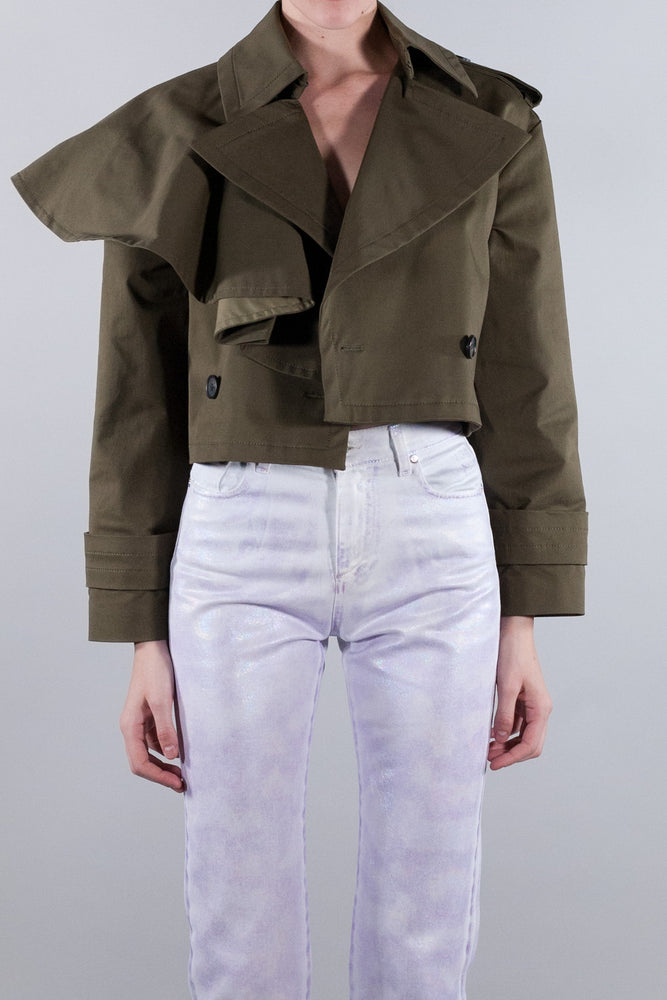 MSGM RUFFLED CROPPED TRENCH COAT