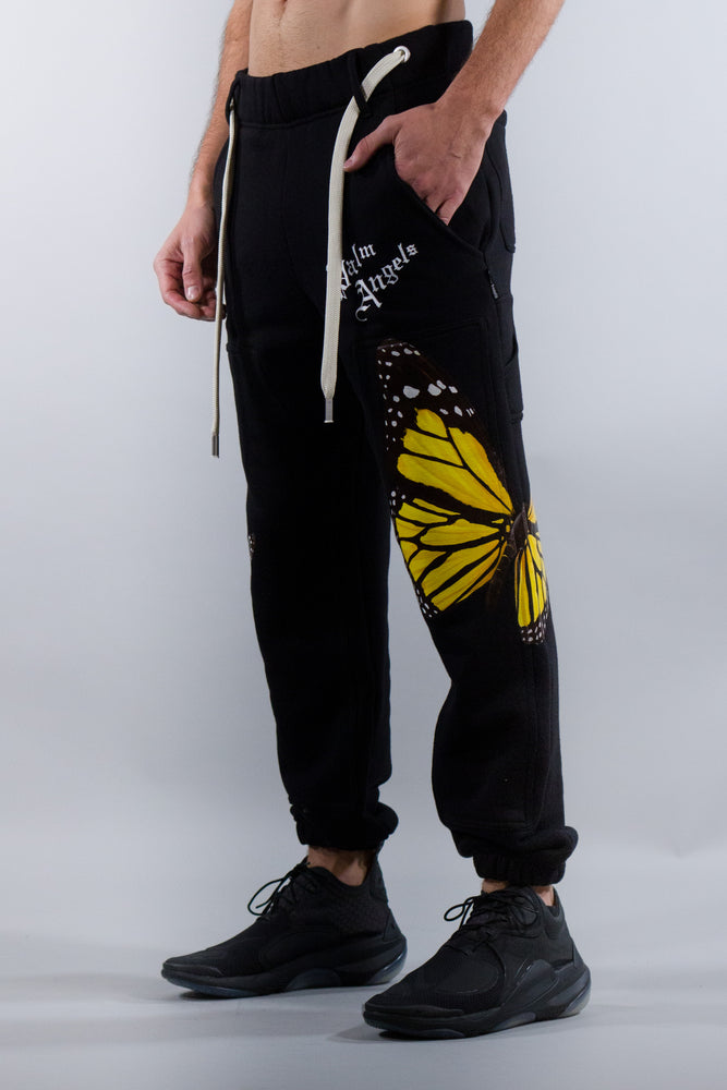 PALM ANGELS BTRFLY SWEATPANTS BLACK MULTICOLOR
