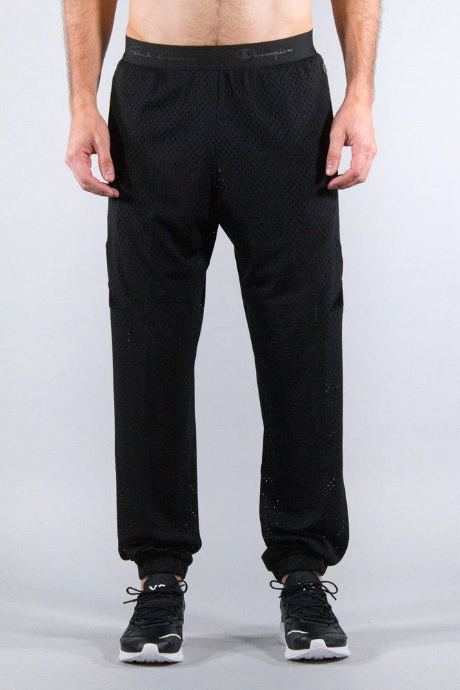 RICK OWENS X CHAMPION KNIT TRACK PANTS MESH BLACK