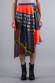 KOLOR MIX PATTERN PLEATED SKIRT MIDDLE TONE