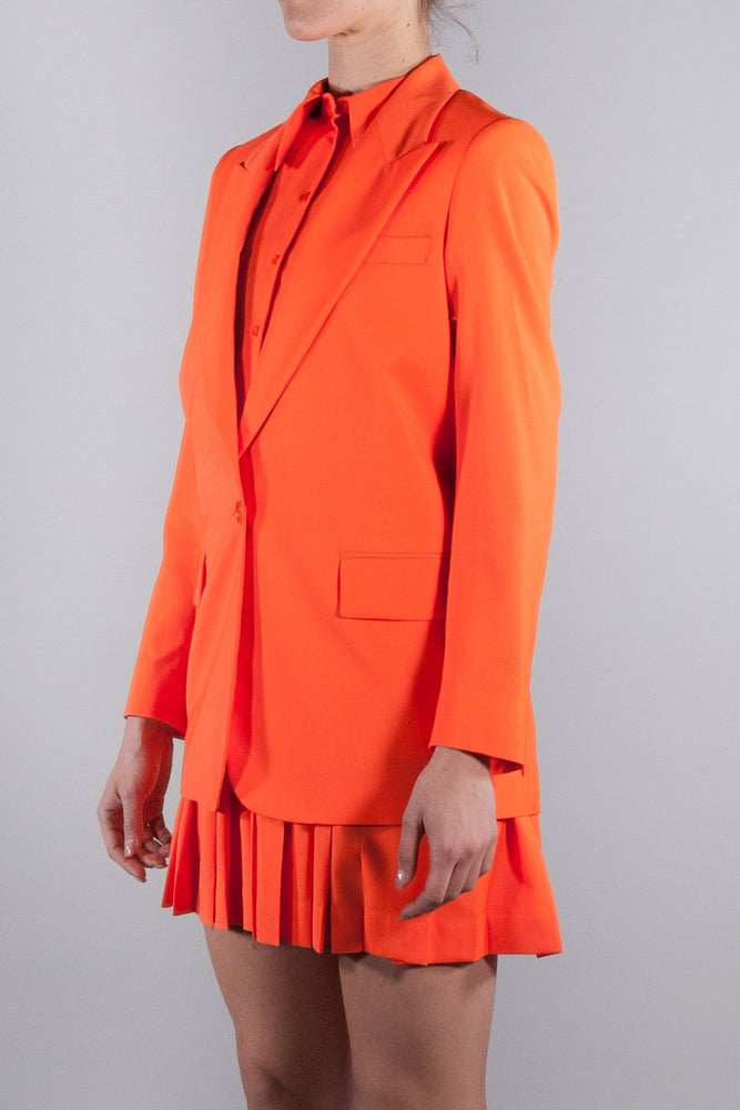 MSGM SINGLE BREASTED JACKET IN WOOL ORANGE