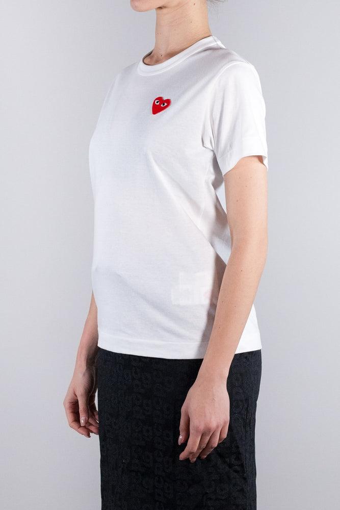 CDG PLAY W RED HEART T-SHIRT WHITE