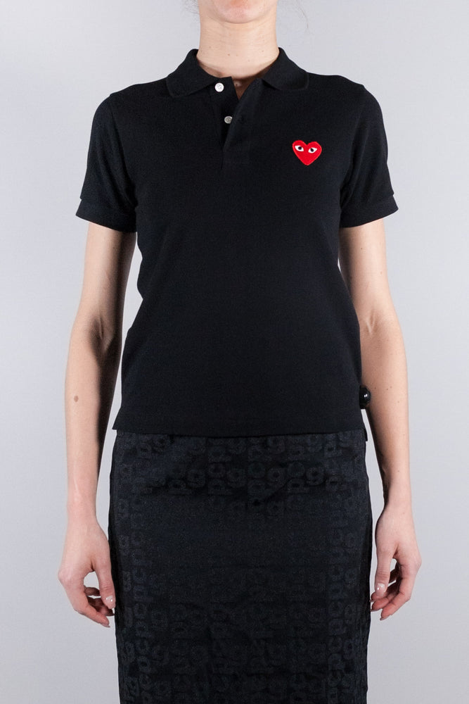 CDG PLAY W RED HEART POLO BLACK