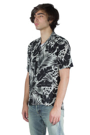 SAINT LAURENT SHARK-COLLAR SHIRT IN TROPICAL SILK CREPE DE CHINE