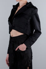 ANDREA YA AQOV CROPPED BUTTONED JACKET BLACK