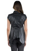 RICK OWENS LEATHER NASKA SLEEVELESS BLACK