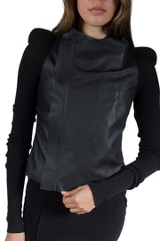 RICK OWENS LEATHER COBRA BIKER BLACK
