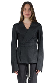 RICK OWENS NAPPA WRAP JACKET BLACK