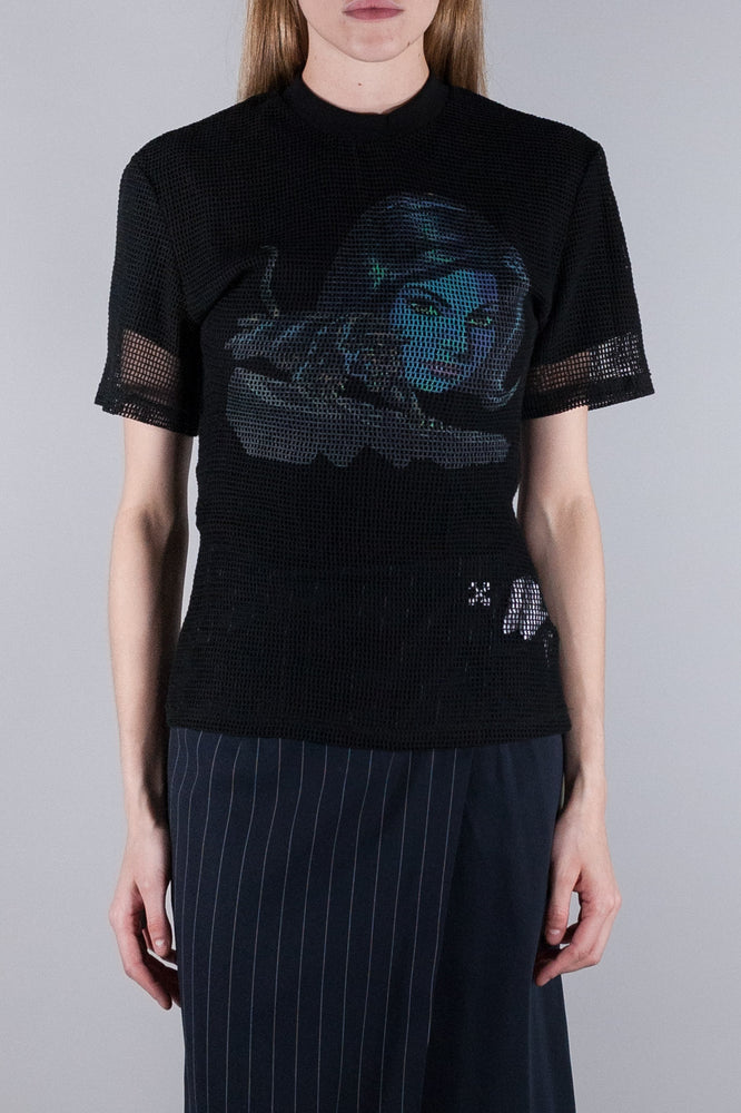OFF WHITE PANTHER DRAPED NET TOP BLACK BLUE