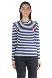 COMME DES GARCONS PLAY W RED HEART LOGO STRIPES LS TEE