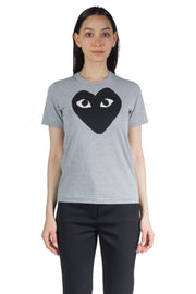 COMME DES GARCONS PLAY W BLACK HEART BIG LOGO TEE GREY