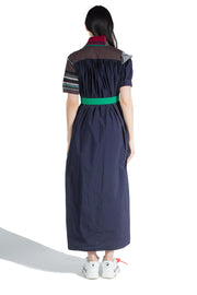 KOLOR W COLOUR-BLOCK POLO DRESS DARK PURPLE