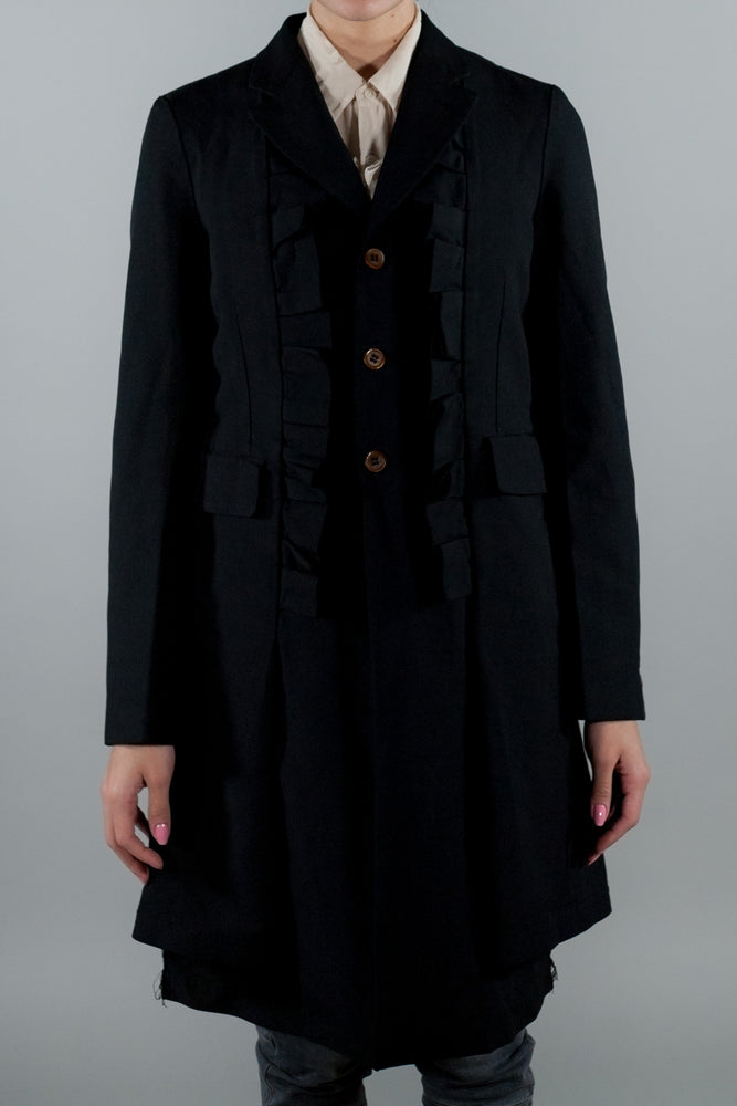 COMME DES GARCONS MID LENGTH COAT WITH RUFFLES