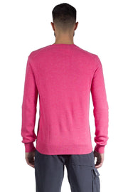 COMME DES GARCONS PLAY DOUBLE RED HEART LOGO V NECK SWEATER PINK