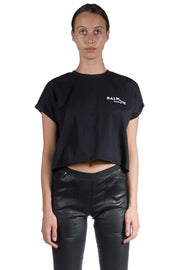 BALMAIN CROPPED SHORT SLEEVE T-SHIRT BLACK