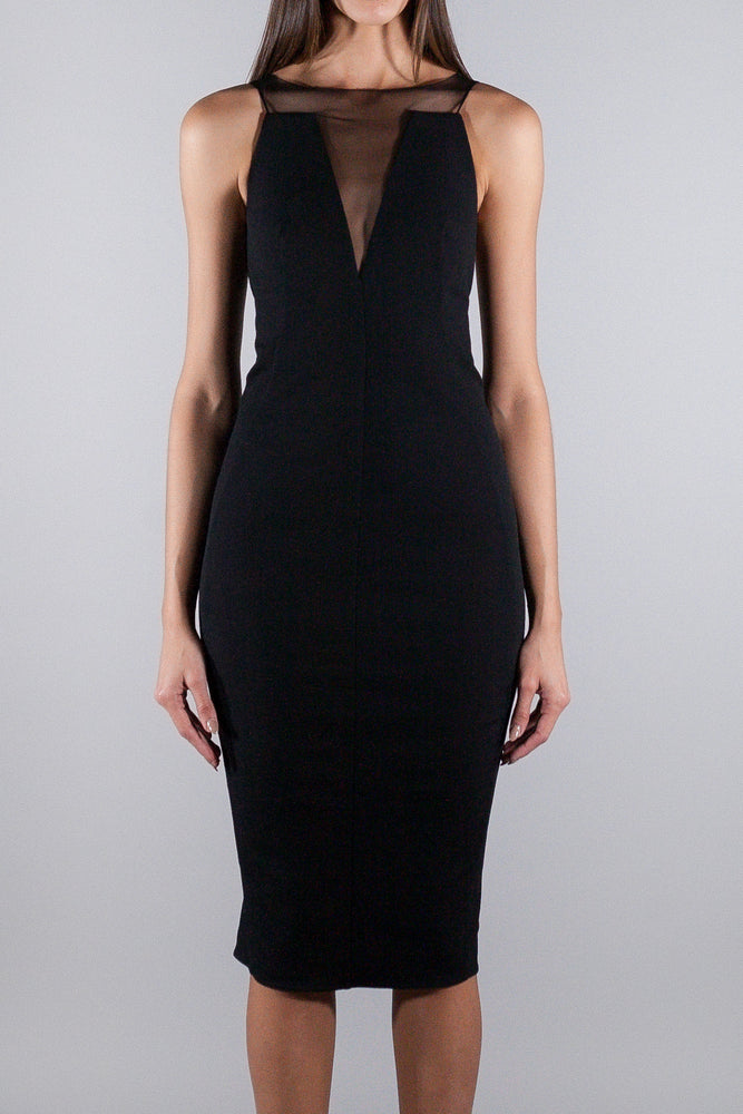 RICK OWENS DRESS WITH SEE THROUGH TULLE DETAIL BLACK