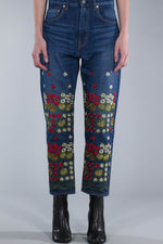 JUNYA WATANABE DENIM SALVAGE STRAIGHT LEG JEANS WITH FLOWER EMBOIDERY
