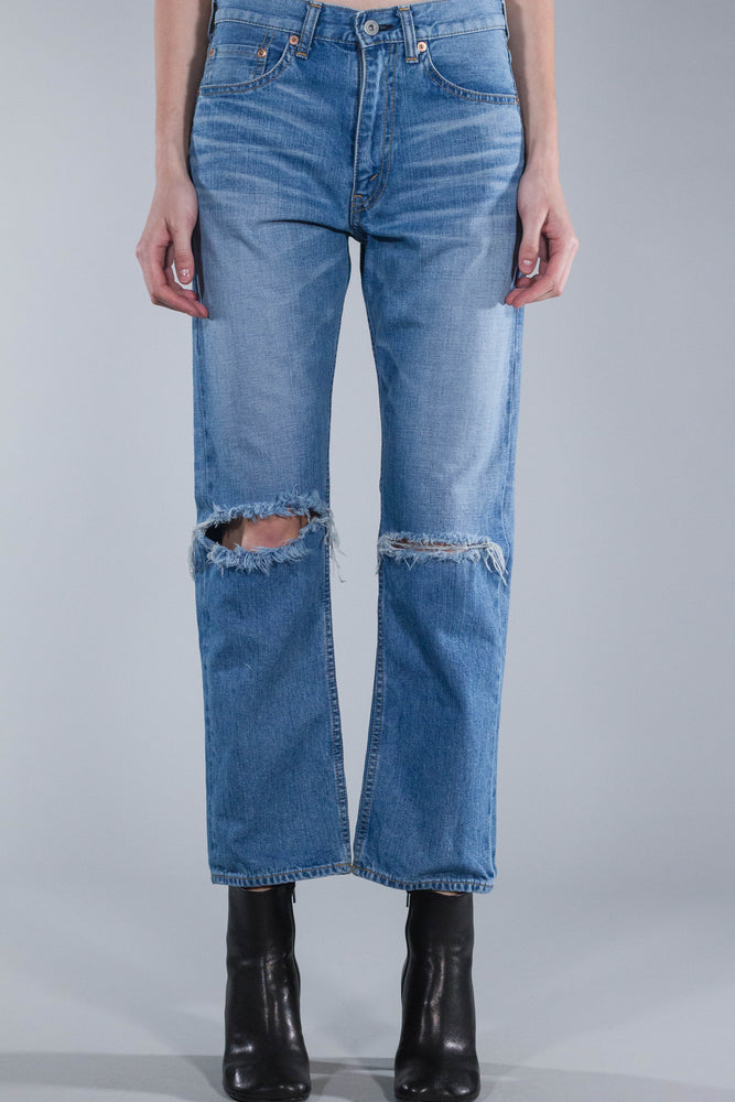 JUNYA WATANABE DENIM LOOSE JEANS WITH RIPPED KNEES