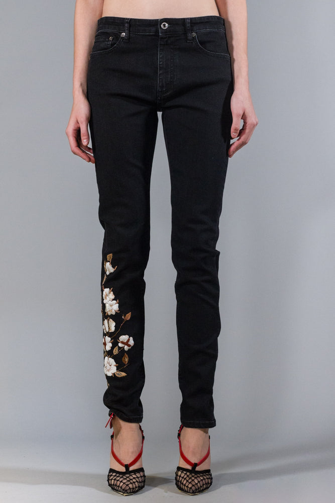 OFF-WHITE EMB DIAG STRETCH SKINNY LEG VINTAGE BLACK WHITE 30